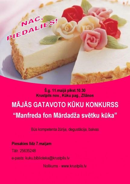 11.maijā Mājās gatavoto kūku konkurss