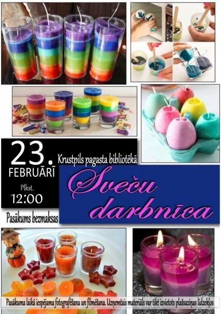 23.februārī Krustpils pagasta bibliotēkā sveču darbnīca