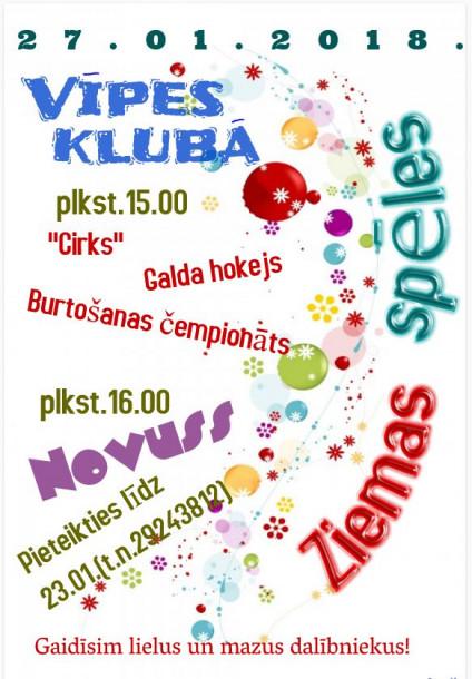 Ziemas spēles Vīpes pagastā jau šajā sestdienā