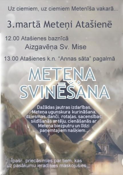 3.martā Meteņdienas svinēšana Atašienē!