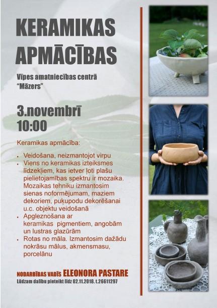 Keramikas apmācības amatniecības centrā
