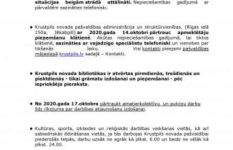 Krustpils novada pašvaldības paziņojums